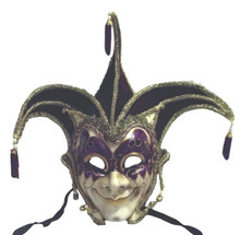 Jester Stick Mask Purple Decorate or Wear Mardi Gras Masquerade Mask Wall Hanging