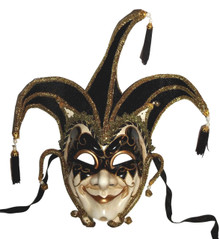 Jester Stick Mask Black Decorate or Wear Mardi Gras Masquerade Mask Wall Hanging