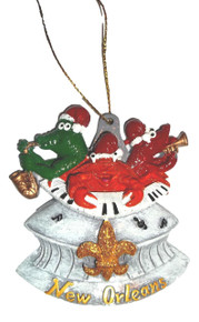 Jazz Gator Crab Crawfish SuperDome New Orleans Christmas Ornament Party Favors