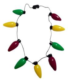 Flashing Necklace Mardi Gras Purple Green Yellow Light Up Bulbs