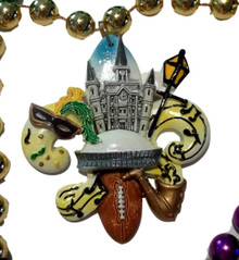 New Orleans Scenes Football, Cathedral, Dome, Mask, Kingcake, Mardi Gras Beads Party Favor
