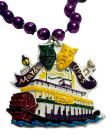 Steamboat Comedy Tragedy Masks Mardi Gras Beads Party Favor Necklace