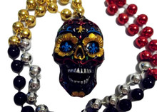 Black Sugar Skull Day of the Dead Mardi Gras Beads Party Favor Necklace