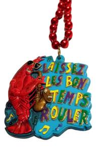 Crawfish Sax Laissez Les Bon Temps Rouler Mardi Gras Beads Party Favor Necklace