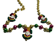 3 Glitter Jesters Mardi Gras Beads Party Favor Necklace