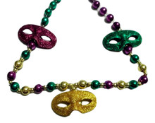 3 Glitter Masks Mardi Gras Beads Party Favor Necklace