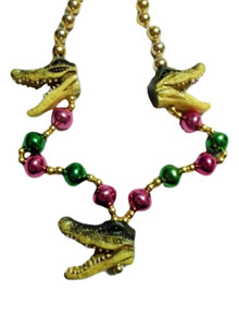 3 Alligator Heads Mardi Gras Beads Party Favor Necklace