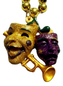 Comedy Tragedy Masks Mardi Gras Beads Party Favor Necklace