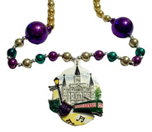 Cathedral, Street Car, Masks, Bourbon St Mardi Gras Beads Party Favor Necklace