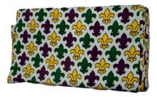Fleur De Lis Mardi Gras Infinity Scarf Purple Green Yellow Knit