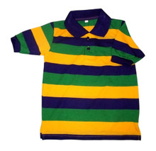 Mardi Gras Stripe Purple Green Yellow Knit Child Small SS Polo Shirt