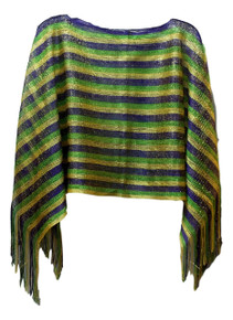 Mardi Gras Poncho Purple Green Gold Open Weave with Fringe