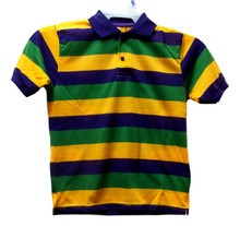 Mardi Gras Stripe Purple Green Yellow Knit Adult Large SS Polo Shirt