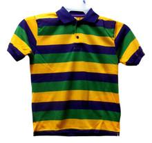 Mardi Gras Stripe Purple Green Yellow Knit Adult Small SS Polo Shirt