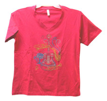 Pink V Neck Knit SS T Shirt Adult Small Musical Instruments Bling Applique