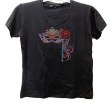 Black V Neck Knit SS T Shirt Adult Medium Rose Mask Bling Applique