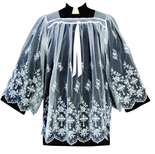 Tailored priest embroidered sheer nylon surplice