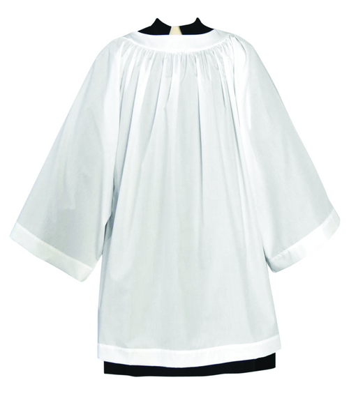 Tailored priest round yoke surplice with bell sleeves.