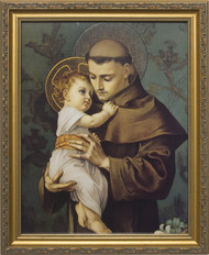 ST. ANTHONY WITH JESUS - STANDARD GOLD FRAME
