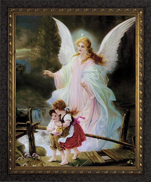 Angel on the Perilous Bridge - ORNATE DARK FRAME