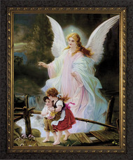 Angel on the Perilous Bridge - ORNATE DARK FRAME