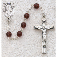 GARNET GLASS RHODIUM SACRED HEART ROSARY C40RB