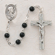 BLACK GLASS RHODIUM SACRED HEART ROSARY