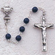 ROSARY BLUE GLASS RHODIUM CHALICE C37RB