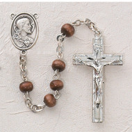 BROWN WOOD RHODIUM SACRED HEART ROSARY