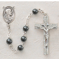 HEMATITE STERLING SILVER SACRED HEART ROSARY C14LB
