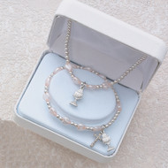 PINK PEARL HEART RHODIUM CHALICE STRETCH BRACELET & PENDANT SET