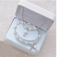 WHITE PEARL HEART RHODIUM CHALICE STRETCH BRACELET & PENDANT SET