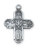 4-WAY ANTIQUE SILVER CROSS