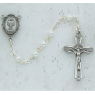 ROSARY WHITE PEARL PEWTER COMMUNION C46DW