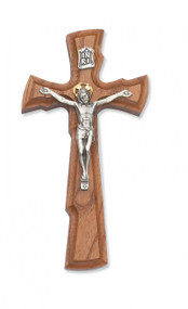 "8"" WALNUT STAINED CRUCIFIX WITH GOLD HALO 80-107"