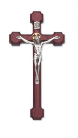 "8"" CHERRY STAINED CRUCIFIX WITH GOLD HALO 79-42613"