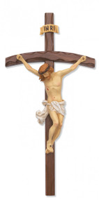 "16"" BENT LOG WALNUT CRUCIFIX WITH HAND PAINTED ITALIAN CORPUS 79-32--FREE SHIPPING!"