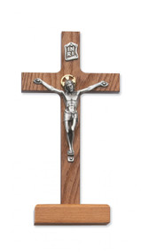 """8"""" WALNUT STAINED STANDING CRUCIFIX 80-59"""