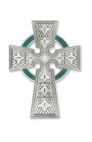 "4-3/4"" PEWTER CELTIC CROSS WITH GREEN ENAMEL 79-12"