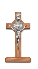 "6"" WALNUT STAINED STANDING ST. BENEDICT CRUCIFIX 80-90"