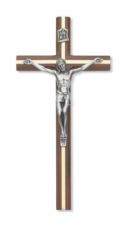"10"" BEVELED WALNUT WOOD INLAY CRUCIFIX WITH SILVER CORPUS"
