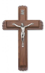 "SICK CALL SET - 11"" WALNUT CRUCIFIX WITH SILVER CORPUS 80-127"