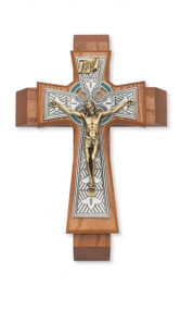 "SICK CALL SET - CELTIC 12"" WALNUT STAINED CRUCIFIX 79-42661"