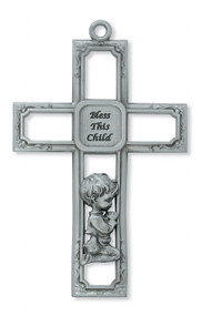 PEWTER BABY BOY WALL CROSS 73-29