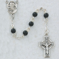 BLACK GLASS PEWTER CHILDREN'S ROSARY R321DG