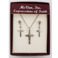 CROSS PENDANT & EARRING SET