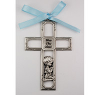 PEWTER BOY CRIB CROSS