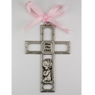 PEWTER GIRL CRIB CROSS