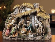 "10 PIECE NATIVITY & 11"" STABLE"