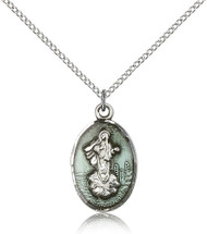 Our Lady of Medjugorje Sterling Silver Medal Blue Enamel 5678E-bliss